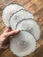4 X Agate Geode Style Pearl White & Real Silver Leaf Resin Coasters Handmade BN