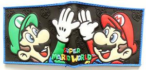 Mario Bros Super Mario silicone Wallet id window 2 card slot zipped coin pocket