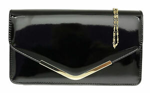 New Ladies Faux Leather Patent Clutch Bag Glossy Shimmer Womens Handbag Designer