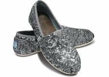 Authentic TOMS+ Gray Pewter Sequined Slip-Ons, Women Size 5, $155