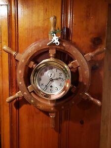 Antique Brass Ships Clock Chelsea