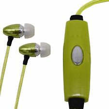 3.5mm Light-Up Stereo Earbuds with Mic, Tangle Free Cord, Green
