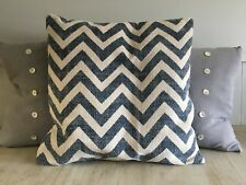 Blue zigzag cushion cotten lin large  H55cm x W55cm including duck filled pillow