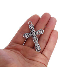 10Pcs Tibetan Silver Alloy Cross Pendant Fit DIY Jewelry Making 49*36mm