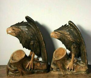 Pair Vintage Carved Wood Folk Art Eagle Sculpture Vessels