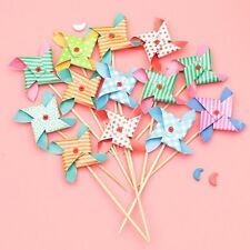 12 pcs Mini Windmill Cupcake Topper Picks Cake Decorations For Birthday Party