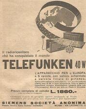 W4010 Radioricevitore Telefunken 40 W - Pubblicità del 1930 - Vintage advert