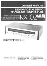 Rotel RX-102MKII Receiver Owners Instruction Manual