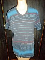 MENS MICROS STRIPED V NECK GRAPHIC T SHIRT SIZE MED