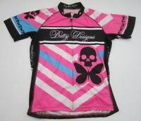 Womens 2XL Betty Designs black pink white full zip cycling jersey