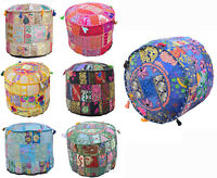 Indian Ethnic Patchwork Round Ottoman Pouf Cover Footstool Vintage Traditional..