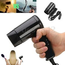 Mini 12V Car Hair Blow Dryer Heat Blower Hot & Cold Wind Travel Camping Protable