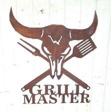 GRILL MASTER Grillen Schild Wandbild Gartendeko Edelrost Grill Rost