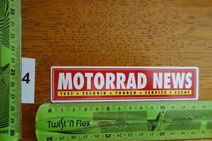 Alter Aufkleber Motorrad Motorsport Magazin MOTORRAD NEWS Test Technik Touren