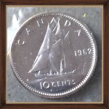 1962 CANADA Elizabeth II Silver Coin - 10 Cents - Proof Like Sealed PL-65  Unc.