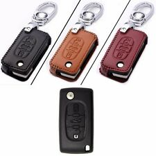 New Leather 3 Button Remote Key Bag Case Fob Holder Chain For Peugeot Series B