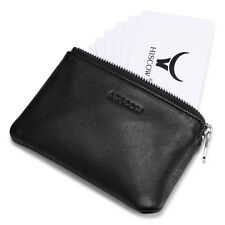 HISCOW Zipper Soft Credit Card Pouch ID Holder Coin Case Black Genuine Leather