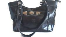 MC Marc Chantal Black Shamrock/Four Leaf Clover Embossed Leather Shoulder Bag