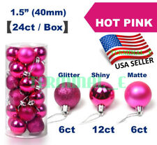 24 CT Shatterproof Christmas Ornament Balls Tree Hanging Wedding Decor HOT PINK