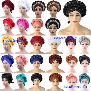 2Pc Auto Gele Headtie African Cap Turban Head Wrap Bonnet Hat Hijab Indian Scarf