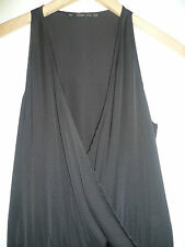 ZARA SIZE XS LADIES BLACK ALL IN ONE SLEEVELESS JUMPSUIT WITH A LOW WRAP V-NECK