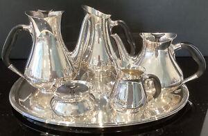 Rare Cohr Denmark Silver Plated 6 Piece Tea Set Hans Bunde Modernist Design