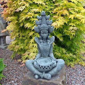 Steinfigur Buddha Stein Steinguss grau Statue Shiva Göttin Geisha frostfest