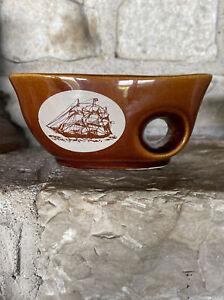 Vintage Mohawk Shaving Soap Scuttle Mug Cup Brown Porcelain Ship