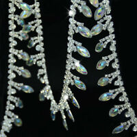 Glass Rhinestone Crystal AB Resin Drop Bridal Trim Chain Sewing Craft 1 Yard