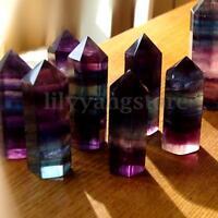2pcs Fluorite Quartz Crystal Wand Point Healing Stone Rock Specimen 38mm-50mm