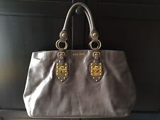 Miu Miu Vitello Leather Tote Handbag In Smoky Grey Colour 9d7d571d8962d