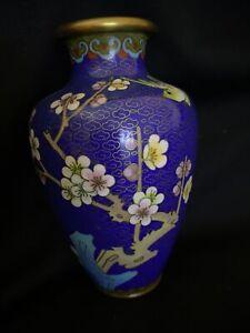 "Vintage Blue Chinese Cloisonné Enamel Vase Floral Small 5.5"" Tall"