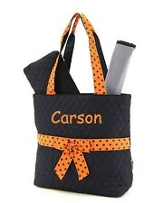 Monogrammed Quilted Tote Diaper Bag  3 Piece Navy Blue with Orange Ribbon