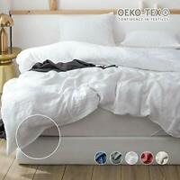 Simple&Opulence 100% Pure Linen Duvet Cover Set Breathable With Pom Poms Design