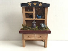 Vintage Wooden Hutch Doll House Cabinet Miniature Furniture Farm House Decor