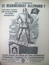 TRACT PROPAGANDE ANTI COMMUNISTE REARMEMENT ALLEMAND REJETEZ LE COMMUNISME 1950