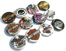 "12 BIKER -1"" Buttons Badges One inch Pinbacks MotorCycle Skull Eagle Jacket Pins"