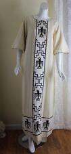 Suzette Paris Santa Fe ART 1970s VTG Western Thunderbird Creamy Long Dress L XL
