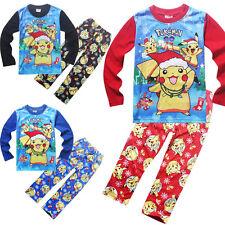 Kids Boys Girl POKEMON GO Pikachu Long Sleeve Sleepwear Christmas Pajama Costume