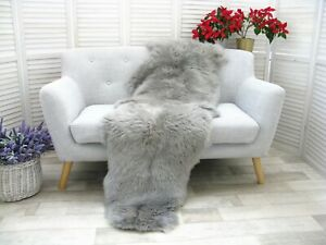 Real BRITISH DOUBLE Sheepskin Rug Hide Silver Grey Soft Sofa FLOOR Bed Cover D30