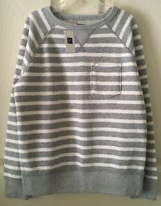 NWT GapKid Boys Soft French Terry Striped Pullover Activewear Sweatshirt Sz M(8)