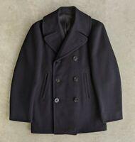 Vintage 1972 1970s USN Navy Pea Coat Wool sz 34R