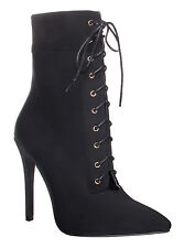 Womens Ladies High Heel Stiletto Ankle Boot Lace Up Open Front Shoes Size