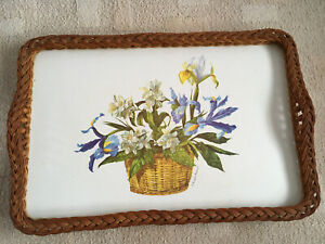 Vintage Large tray woven edge Floral Design