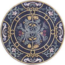 "32"" HandMade Art Tile Stone Patterns Medallion Floral Decor Marble Mosaic"