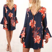 NEW Women Autumn V Neck Floral Short Jumper Mini Dress Top T-shirt Blouse diy