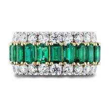 3.50 Ct Emerald & Diamond 14K White & Yellow Gold Anniversary Wedding Band Ring