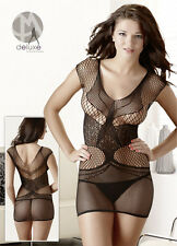 Sexy Transparentes Netz Kleid Mini Gr. S/L Dessous Negligee Wäsche Mandy Mystery