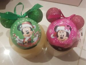 LED disney Christmas Baubles With Glittery Mickey Ears Set Of 2 Minnie Mouse