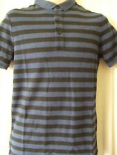 "NEW SUPERDRY MEDIUM 38"" CHEST PRINCETON BLUE MARL STRIPE CITY POLO TOP"